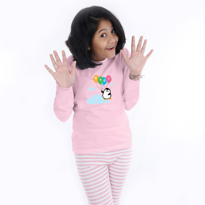 Pink Full Sleeve Girls Pyjama - Ballons